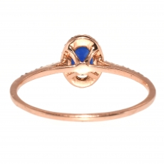 0.93 Carat Blue Sapphire And Diamond Ring In 14k Rose Gold