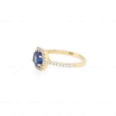0.93 Carat Kyanite And Diamond Ring 14k Yellow Gold