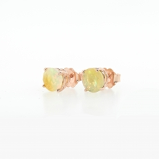 0.95 Carat Ethiopian Opal Stud Earring In 14k Rose Gold