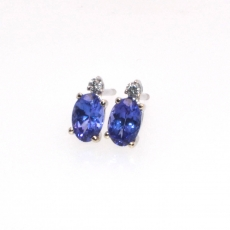 0.95 CARAT Tanzanite And diamond STUD EARRING IN 14K White GOLD