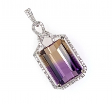 10.04 Carat Ametrine And Diamond Pendant In 14k White Gold
