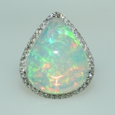 10.06 Carat Ethiopian Opal And Diamond Ring In 14k White Gold