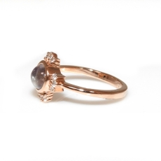 1.01 Carat Rainbow Moonstone And Diamond Ring In 14k Rose Gold