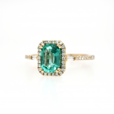 1.02 Carat Zambian Emerald With Accent Diamond Engagement Ring in 14K Yellow Gold