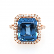 10.27 Carat London Blue Topaz And Diamond Ring In 14k Rose Gold