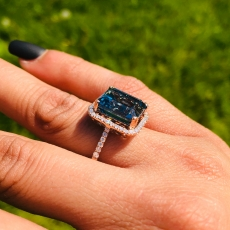 10.27 Carat Swiss Blue Topaz And Diamond Ring In 14k Rose Gold