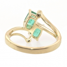 1.04 Carat Zambian Emerald And Diamond Double Head Ring In 14k Yellow Gold