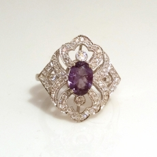 1.05 Carat Color Change Natural Alexandrite And Diamond Ring In 14K White Gold