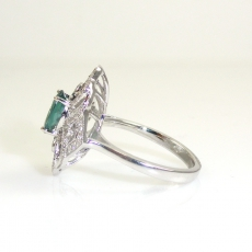 1.05 Carat Natural Color Change Alexandrite And Diamond Ring In 14k White Gold