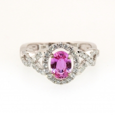 1.06 Carat Pink Sapphire And Diamond Ring In 14k White Gold