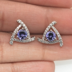 1.06 Carat Tanzanite and Diamond Stud Earring In 14k White Gold