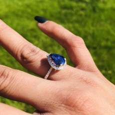 1.07 Carat Nigerian Blue Sapphire And Diamond Halo Ring In 14k Yellow Gold