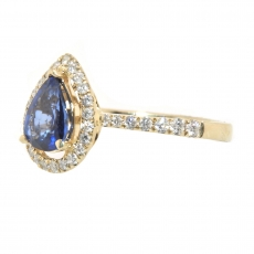 1.07 Carat Nigerian Blue Sapphire And Diamond Ring In 14k Yellow Gold