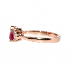 1.07 Carat Watermelon Tourmaline And Diamond Ring In 14k Rose Gold