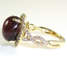 10.70 Carat Star Ruby And Diamond Ring In 14k Yellow Gold