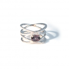 1.08 Carat Natural Color Change Alexandrite And Diamond Ring In 14k White Gold