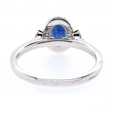 1.09 Carat Blue Sapphire And Diamond Ring In 14k White Gold