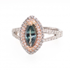 1.09 Carat Natural Alexandrite And Diamond Ring In 14K Dual Tone (Rose / White) Gold
