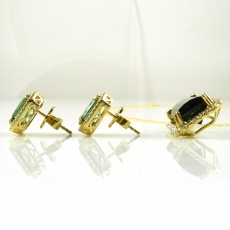 10.96 Carat Green Tourmaline And Diamond Matching Earring And Pendant Set In 14k Yellow Gold (online Exclusive)