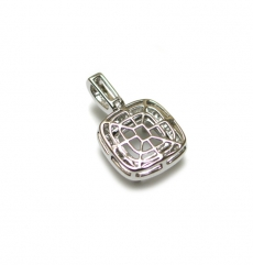 10mm Cushion Pendant Semi Mount In 14k White Gold With White Diamond ( Pscs083)