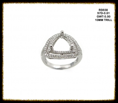 10mm Trillion 14k White Gold And Diamond Ring Semi Mount(rst938)
