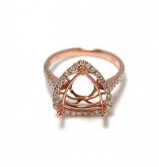 10mm Trillion Ring Semi Mount In 14k Rose Gold With Diamonds (rsht007)