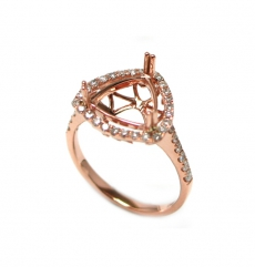 10mm Trillion Semi Mount Ring In 14k Rose Gold With White  Diamond (rsht007)
