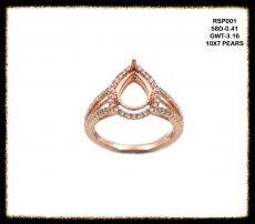 10x7mm Pear Ring Semi Mount In 14k Rose Gold With Diamonds (rsp001)