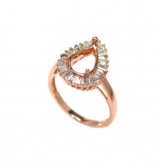 10x7mm Pear Ring Semi Mount In 14k Rose Gold With Diamonds (rsp1159)