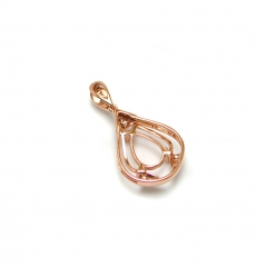 10x7mm Pear Shape  Pendant Semi Mount In 14k Rose Gold With White Diamond