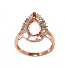 10x7mm Pear Shape Ring Semi Mount In 14k Rose Gold With White Gold (rsp1159)