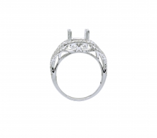 10x8mm Cushion Ring Semi Mount In 18k White Gold With White Diamond (rscl098)
