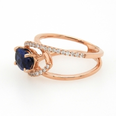 1.10 Carat Kyanite And Diamond Ring 14k Rose Gold