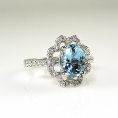 1.10 Carat Natural Aquamarine With Diamond Ring in 14K White Gold