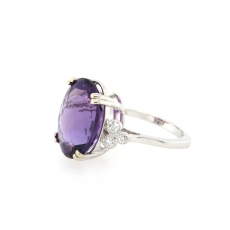 11.07 Carat Amethyst And Diamond Ring 14k White Gold
