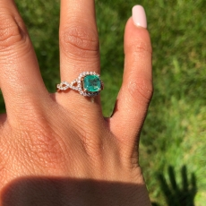1.12 Carat Zambian Emerald And Diamond Engagement Ring In 14K Rose Gold