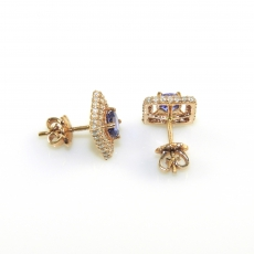 1.13 Carat Aa Quality Tanzanite & Diamond Earring In 14k Rose Gold