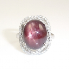 11.40 Carat Star Ruby And Diamond Ring In 14k White Gold