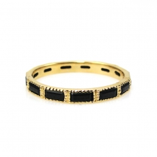 1.15 Carat Black Spinel Bezel Set Band Ring Yellow Gold