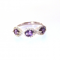1.15 Carat Natural Excellent Color Change Alexandrite And Diamond Ring In 14k White Gold
