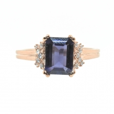 1.17 Carat Iolite And Diamond Ring In 14k Rose Gold
