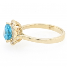 1.18 Carat Apatite And Diamond Ring In 14k Yellow Gold