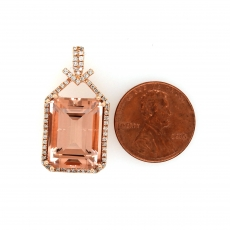 11.83 Carat Morganite And Diamond Pendant In 14k Rose Gold