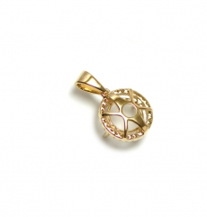 11mm Round Semi Mount Pendant In 14k Yellow Gold With Diamond Halo (pshr002)