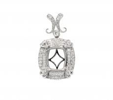 11x9mm Cushion Pendant Semi Mount In 14k White Gold With White Diamonds (pscl043)