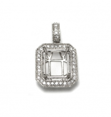 11x9mm Emerald Cut  Semi Mount Pendant In 14k White Gold With Diamond Halo (pshe480)