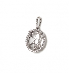11x9mm Oval Semi Mount Pendant In 14k White Gold With White  Diamond (psho001)