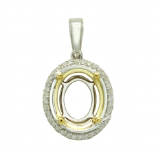 11x9mm Oval Semi Mount Pendant In 14k White/ Yellow Dual Tone Gold ( Pso212)