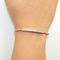 1/2 carat Bar Diamond bead strach Bracelet in 18K Rose gold