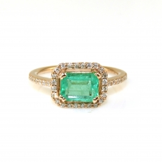 1.25 Carat Colombian Emerald And Diamond Ring In 14k Rose Gold